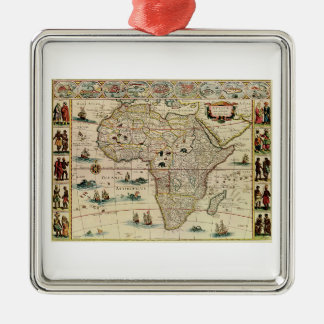 Vintage 1660's Africa Map by Willem Janszoon Blaeu Silver-Colored Square Decoration