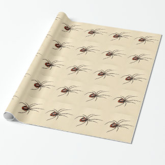 Vintage 1800s Black Red Spider Template Spiders Wrapping Paper