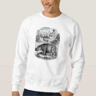 Vintage 1800s Hippo w Baby Retro Hippos Template Sweatshirt