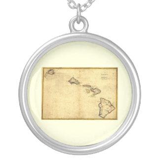 Vintage 1837 Hawaii Map -  Hawaiian Islands Silver Plated Necklace