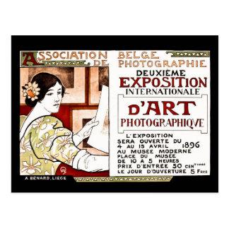 Vintage 1896 art nouveau Belgian photographers art Postcard