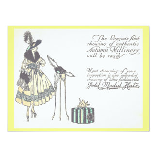 Vintage 1920s Hat Millinery Show Advertisement 17 Cm X 22 Cm Invitation Card