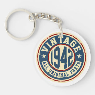 Vintage 1942 All Original Parts Single-Sided Round Acrylic Key Ring