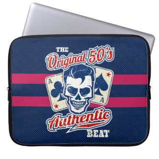 Vintage 1950s Rockabilly Skull with Aces Laptop Sleeve