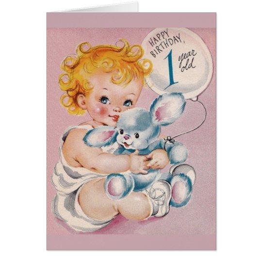 Vintage 1 Year Old Birthday Greeting Card