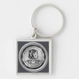 Vintage 25th Anniversary ID195 Silver-Colored Square Key Ring