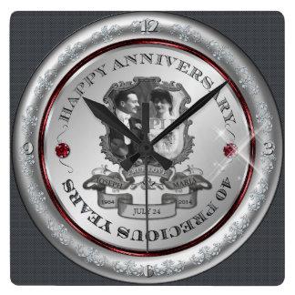 Vintage 40th Anniversary ID195 Square Wall Clock
