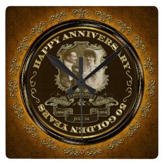 Vintage 50th Anniversary ID195 Square Wall Clock