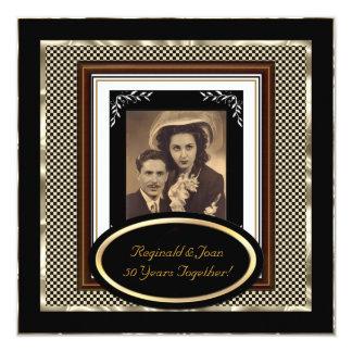 "Vintage 50th Wedding Anniversary Black Sepia Gold 5.25"" Square Invitation Card"