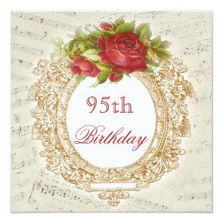 "Vintage 95th Birthday Red Rose Frame Music Sheet 5.25"" Square Invitation Card"