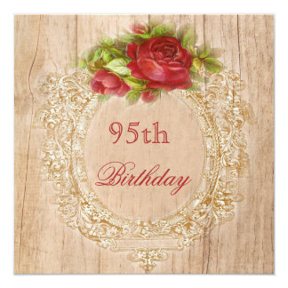 """Vintage 95th Birthday Red Rose Wooden Frame 5.25"""" Square Invitation Card"""
