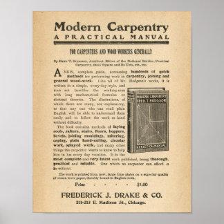 Vintage Ad Advertisement for Modern Carpentry Book Print