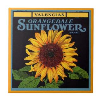 Vintage Ads Sunflower Brand Fruit Crate Label Tile
