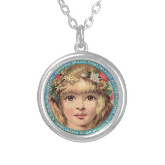 Vintage Advert pretty Girl with Flowers Necklace