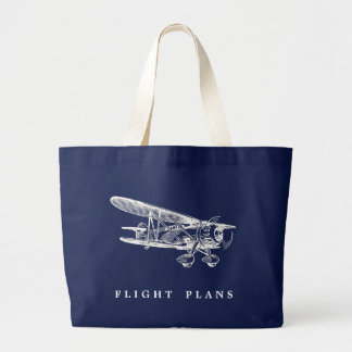 Vintage Aeroplane, Flight Plans Large Tote Bag