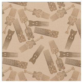 Vintage Afro Picks fabric, sepia tones Fabric
