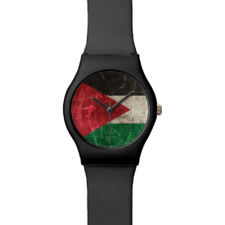 Vintage Aged and Scratched Flag of Palestine Wristwatch