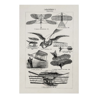 Vintage Aircrafts Airplanes Airships Retro Planes Poster