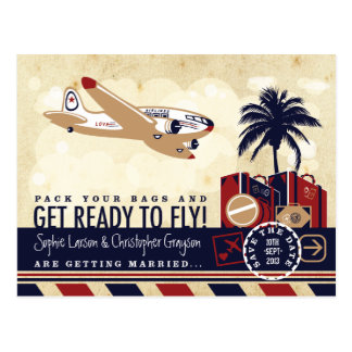 Vintage Airline Travel Save the Date Postcard