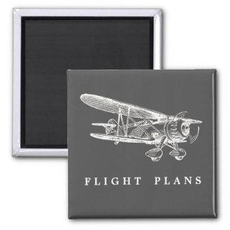 Vintage Airplane Flight Plans Magnets
