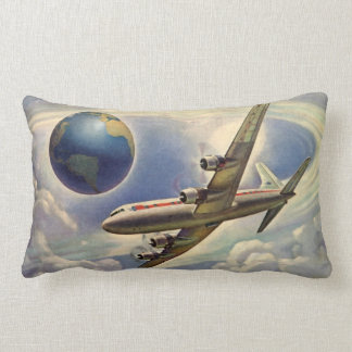 Vintage Airplane Flying Around the World in Clouds Lumbar Pillow