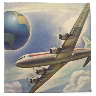 Vintage Airplane Flying Around the World in Clouds Napkin