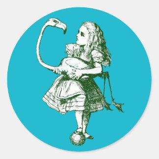 Vintage Alice in Wonderland Flamingo Round Sticker