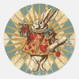 Vintage Alice White Rabbit Classic Round Sticker