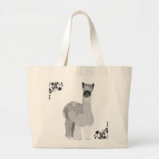 Vintage Alpaca Art Black & White  Bag