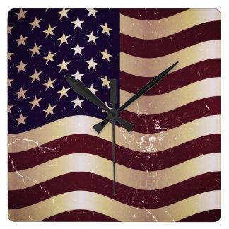 Vintage American Flag 2 Clocks