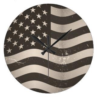 Vintage American Flag 3 Clocks