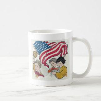 Vintage American Flag and Children Basic White Mug