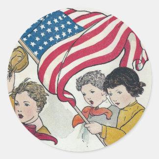 Vintage American Flag and Children Round Sticker