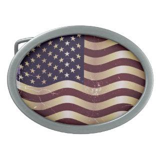 Vintage American Flag Oval Belt Buckles