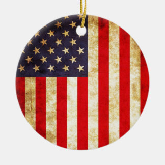 Vintage American Flag Christmas Ornament