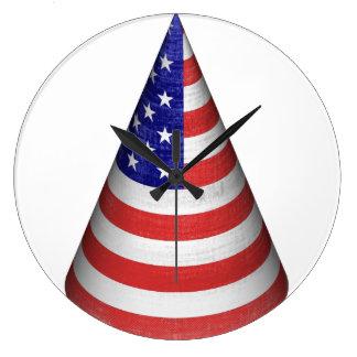 Vintage American Flag Cone Round Wall Clock