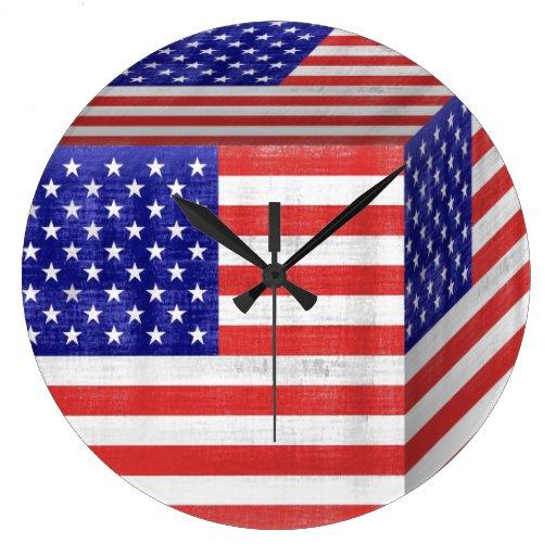 Vintage American Flag Cube Round Clocks