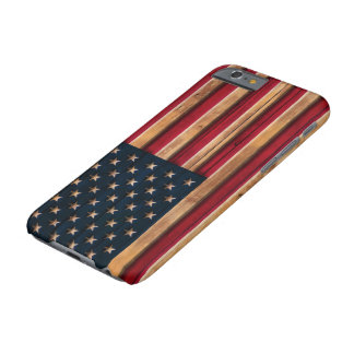 Vintage American Flag Distressed Wood Look Barely There iPhone 6 Case