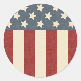 Vintage American Flag Round Sticker