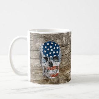 vintage american flag skull basic white mug