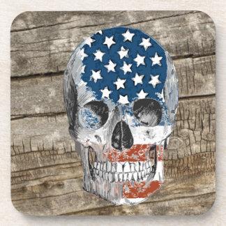 vintage american flag skull beverage coaster