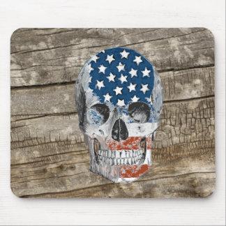 vintage american flag skull mouse pad