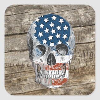 vintage american flag skull square sticker