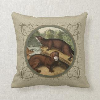 Vintage American Minks v2 Throw Pillows