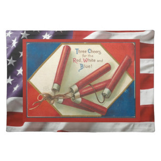 Vintage  American Patriotic, 4th July Firecrackers Placemat