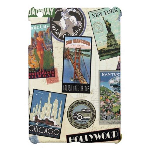 Vintage American Travel collage iPad Mini Cases