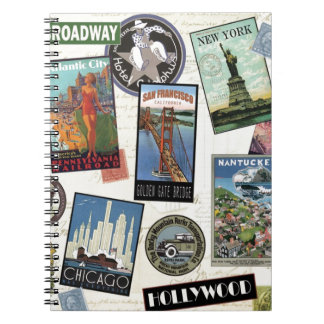 Vintage American Travel collage Notebook