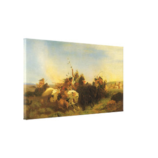 Vintage American West Art, Buffalo Hunt by Wimar Gallery Wrapped Canvas