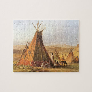 Vintage American West, Teepees on Plain by Bodmer Puzzle