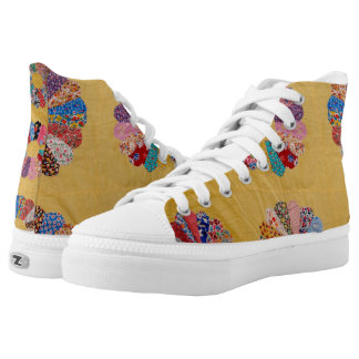 Vintage American Yellow Quilt Printed Shoes